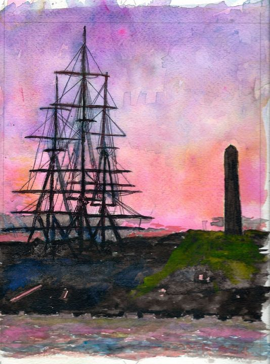 72 USS Constitution and Bunker Hill - TomR Water Colors