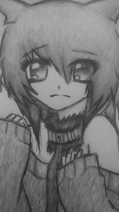 Sad anime girl - My art