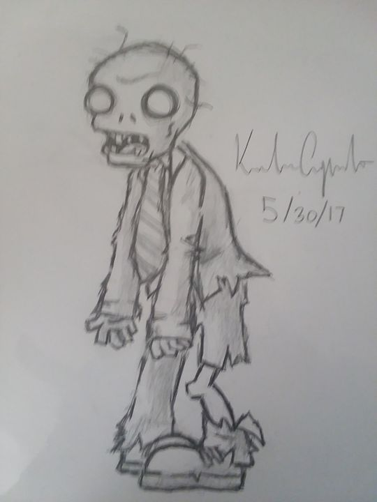 """Zombie from """"plants vs zombies"""" - My art"""