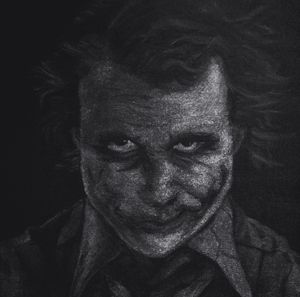 B/W version of Heath Ledger as Joker