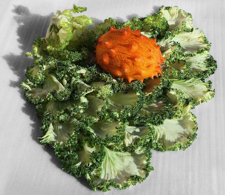 Horned Melon On Kale - Fine Art by Viktor Savchenko