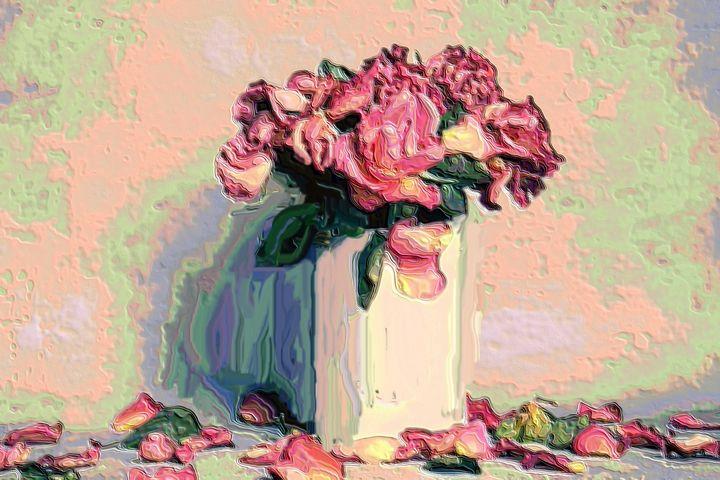 White vase with flowers - Rene art