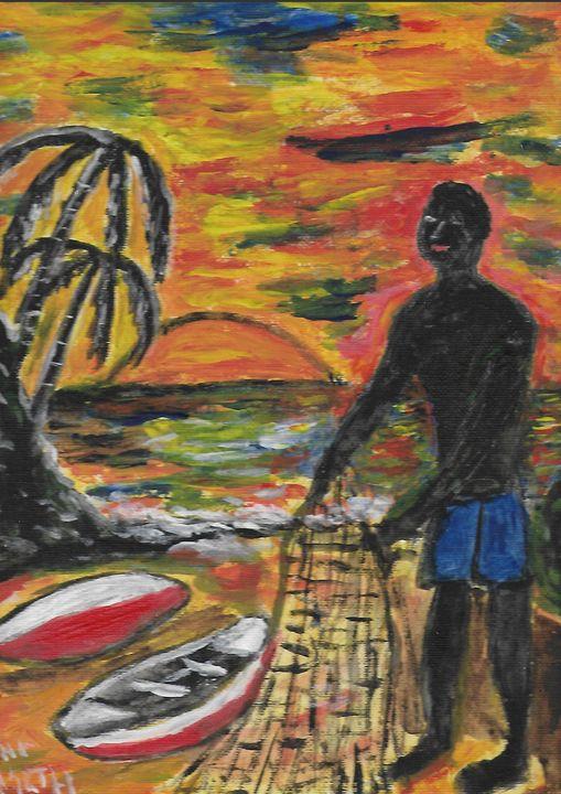 Caribbean fisherman with net - Rene art