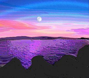 Full moon at the coast