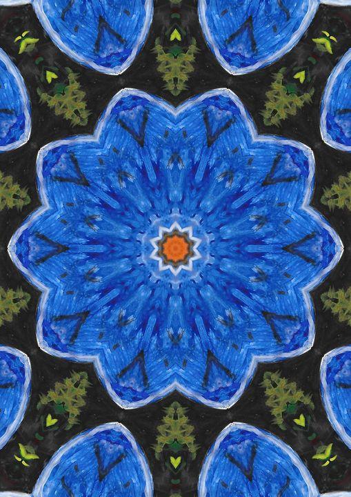 cosmos blue flower - Rene art