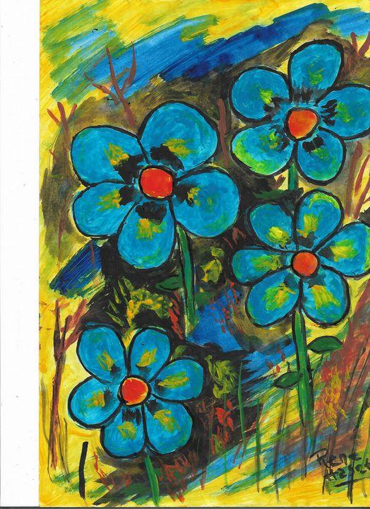 Blue tropical flowers in the field - Rene art