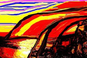 Dutch dykes at sunset