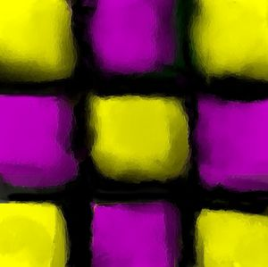 Purple, black and yellow