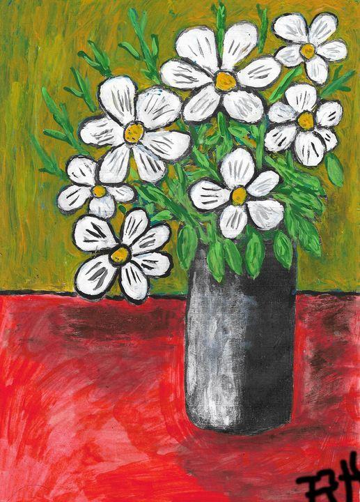 Vase with white flowers - Rene art