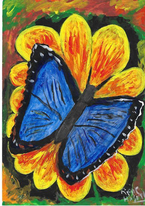 blue butterfly on yellow flower - Rene art