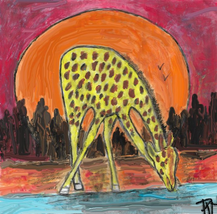 Giraffe at sunset - Rene art