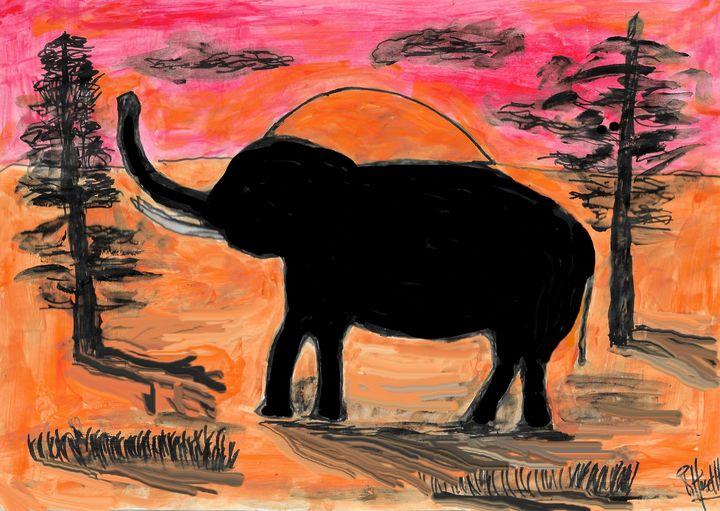Elephant at sunset - Rene art