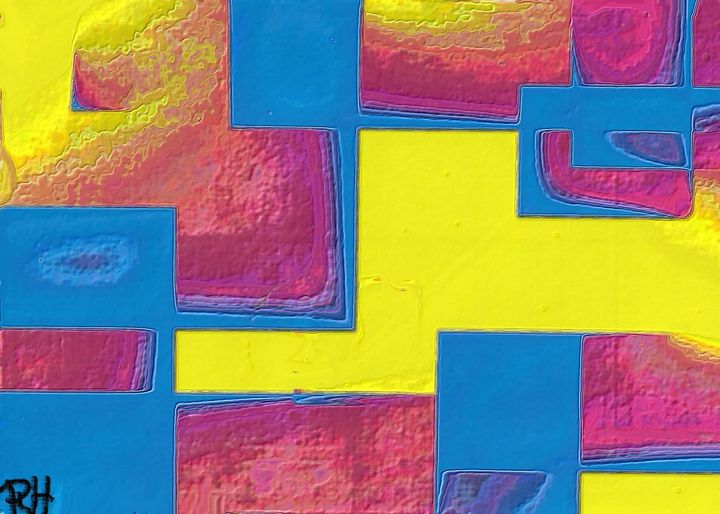 Pink yellow and blue - Rene art