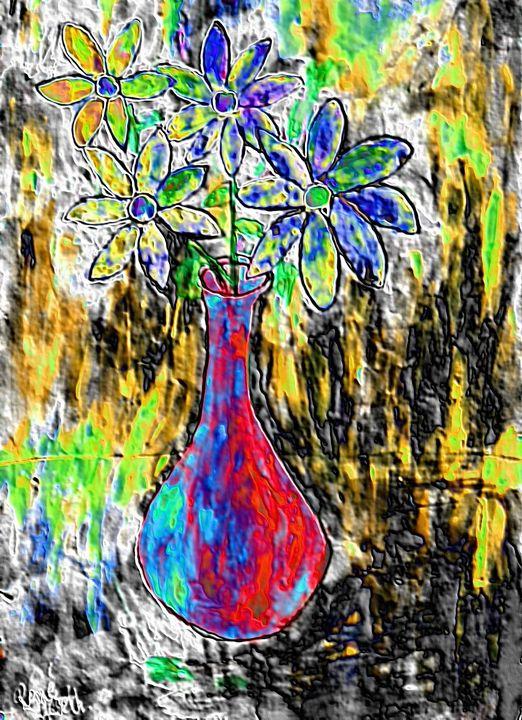 Abstract art still life wild flowers - Rene art