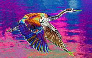 Abstract art heron