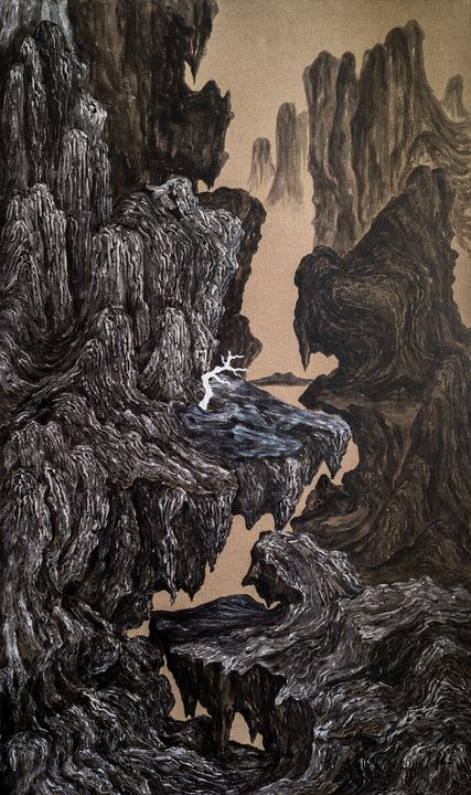 Cold Mountain Single Tree独树寒山图 - 7773535