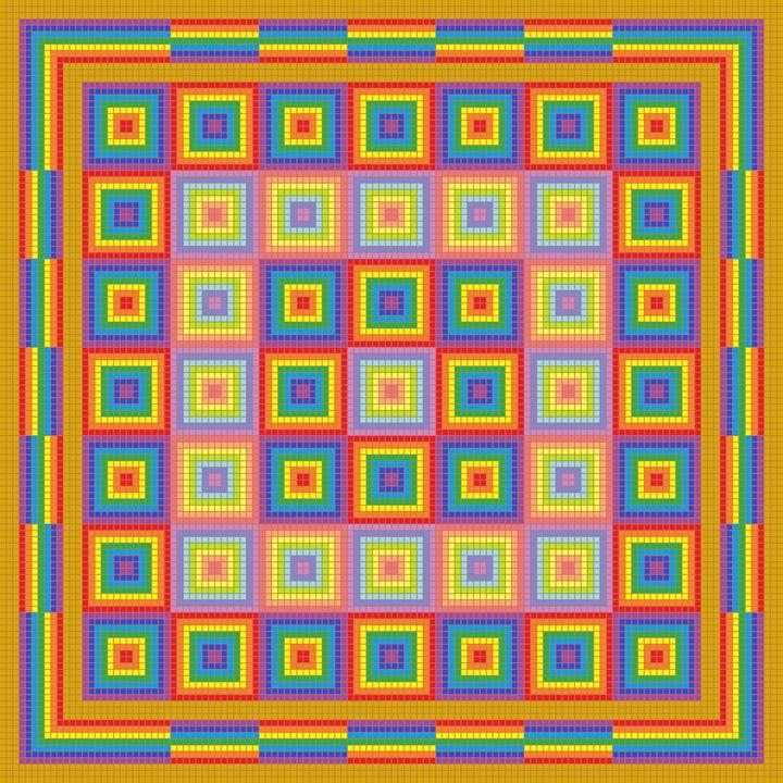 Chequered rainbows mosaic - Art divinity
