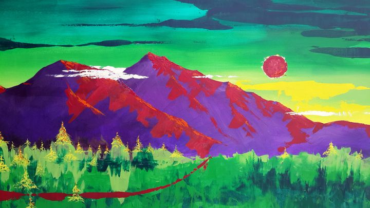 blood moon over Mt.  diablo - charlesjblantonart