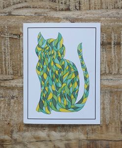 Green Cat Notecard Set