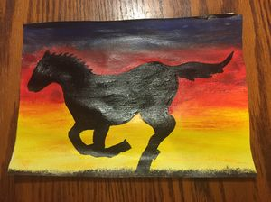 Galloping horse in the sunset