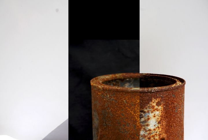 white and black - rusty paint can - Reynolds Art & Design