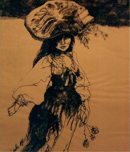 """Girl  in Flowered Hat.."""