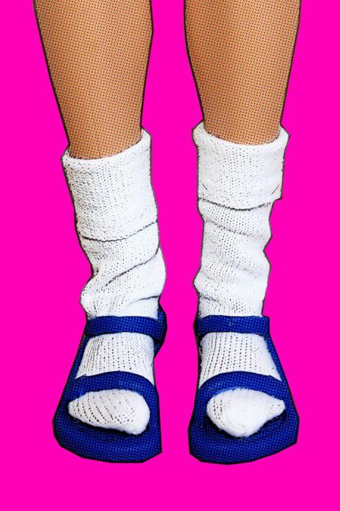 Socks & Sandals Fashion Faux Pas - Plastic Pam