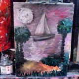 Moon Rays Oil Painting
