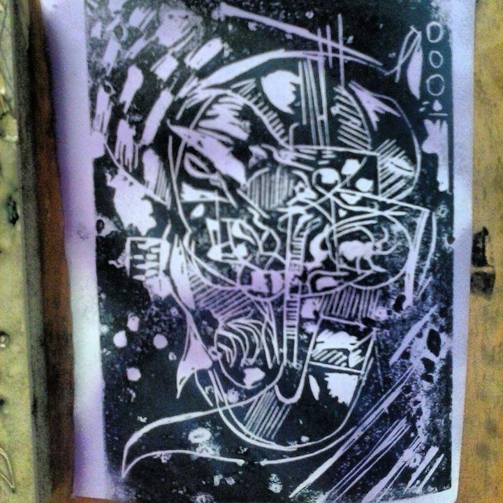 abstract blockprint by Niemann - ETNART Evan Thomas Niemann