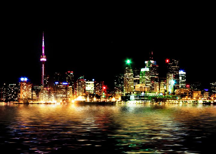 Toronto Skyline At Night Reflection - The Learning Curve Photography