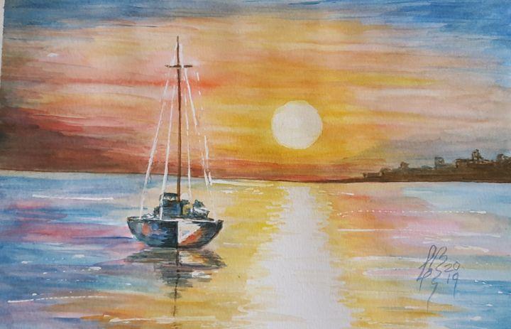 Atardecer en el mar - Liliana Blarasin