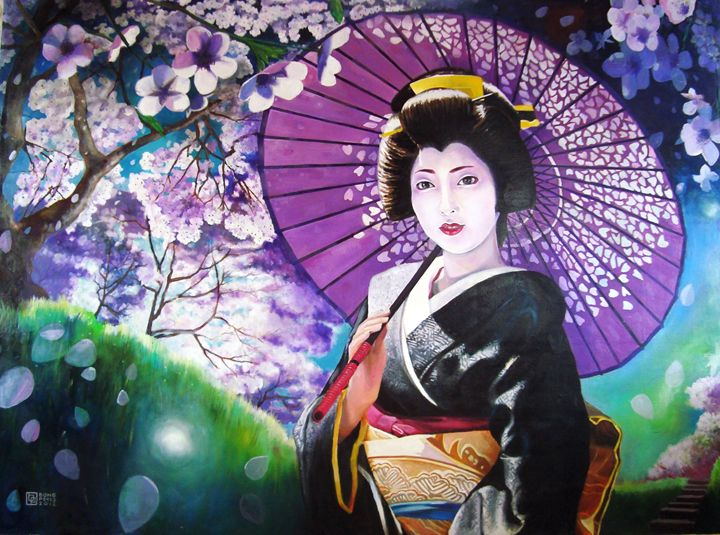 Geisha with Blooming Sakura - Bong Perez Art Gallery