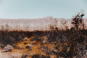 Desert and wind turbine