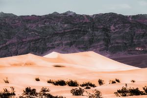 sand desert with mountain background