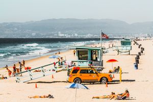 sandy beach in summer in California