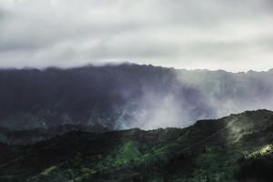 green tropical mountains at Kauai