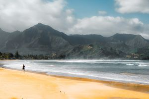 jogging at the beach Kauai Hawaii