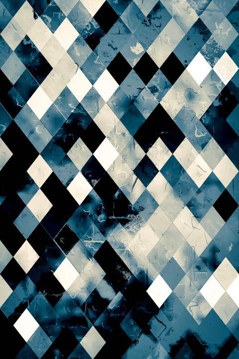 blue geometric pixel square pattern - TimmyLA