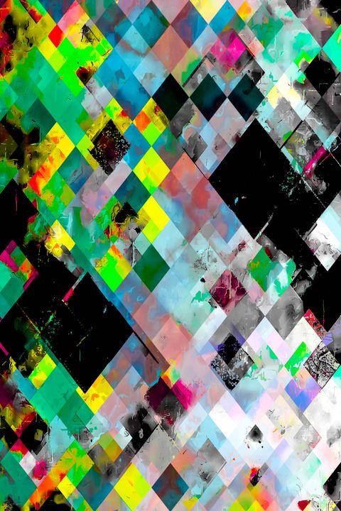 green geometric pixel square pattern - TimmyLA