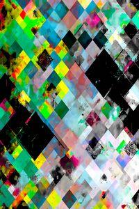 green geometric pixel square pattern