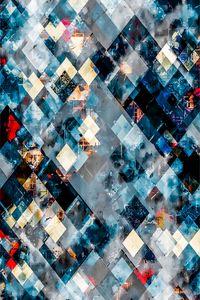 blue geometric pixel square pattern