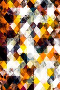 brown yellow orange geometric pixel