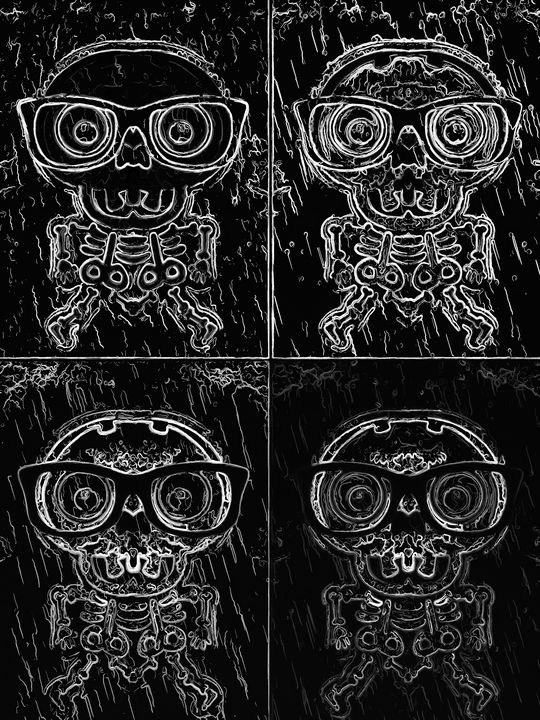 funny skull in black and white - TimmyLA