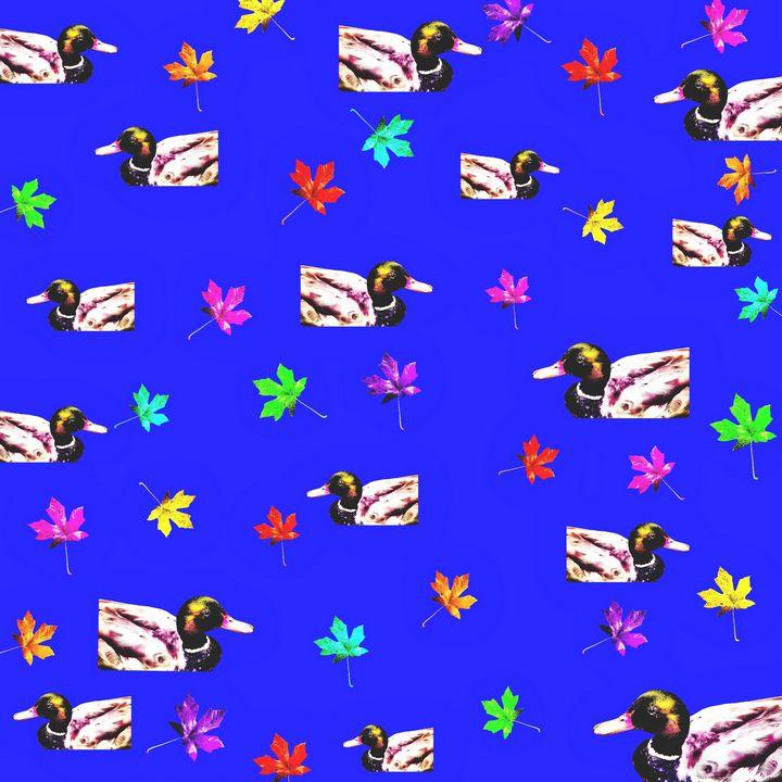 mallard duck with maple leaf - TimmyLA - Digital Art