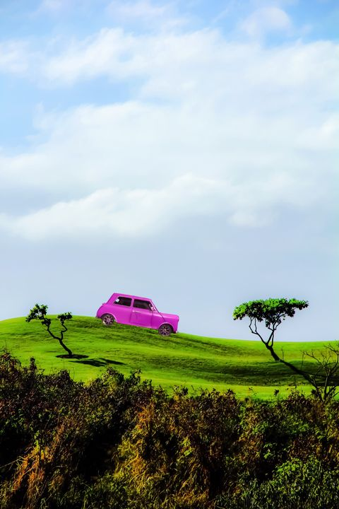 pink car on the green mountain - TimmyLA