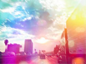 urban road with beautiful sunlight