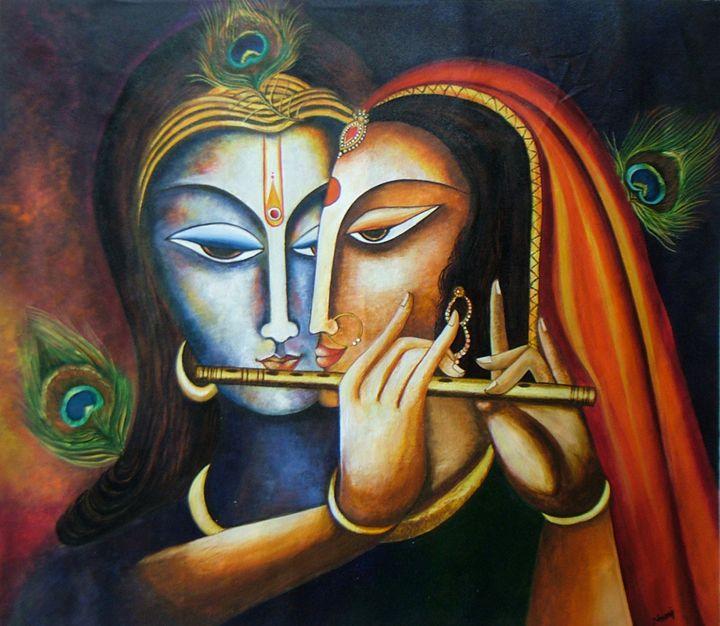Divine Companions Krishna and Radha - neeruart