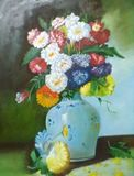 Flower painting. Oil painting on can