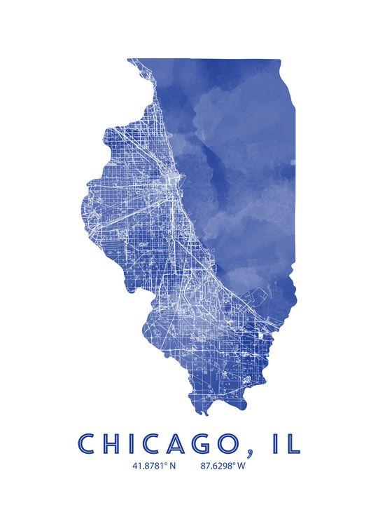 Chicago, Map art - Chad Greene Art