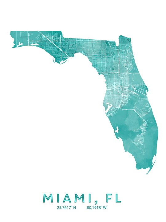 Miami, Map art - Chad Greene Art